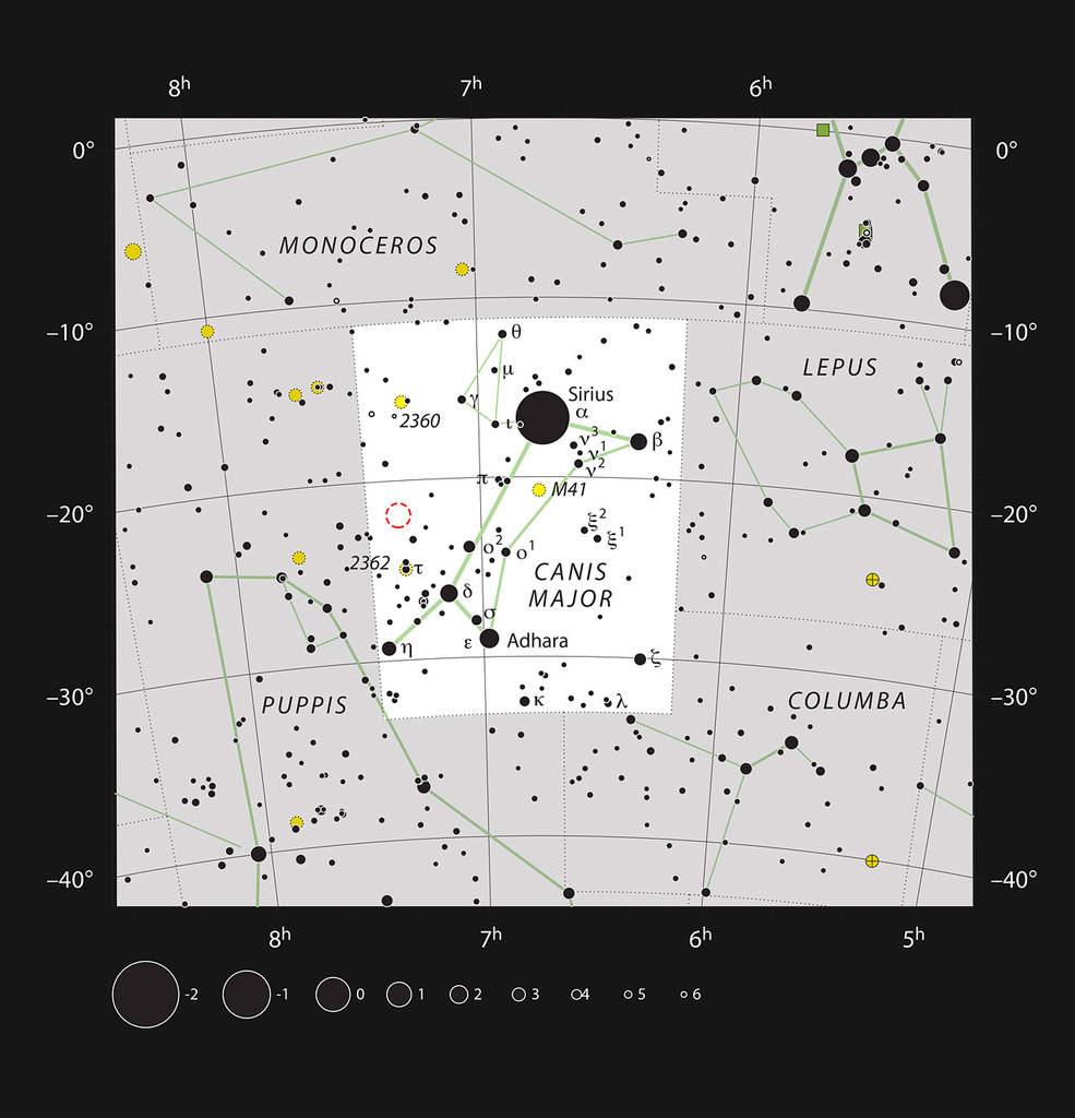 Mapka przedstawia gwiazdozbiór Wielkiego Psa (Canis Major). Położenie gromady otwartej NGC 2367 - którą zpowodzeniem można obserwować przy pomocy niewielkiego teleskopu - jest zaznaczone czerwonym okręgiem. Oprócz tego namapce uwzględniono większość gwiazd możliwych dozaobserwowania gołym okiem przy dobrych warunkach.