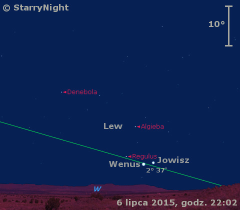 Położenie Jowisza i Wenus w trzecim tygodniu lipca 2015 r.