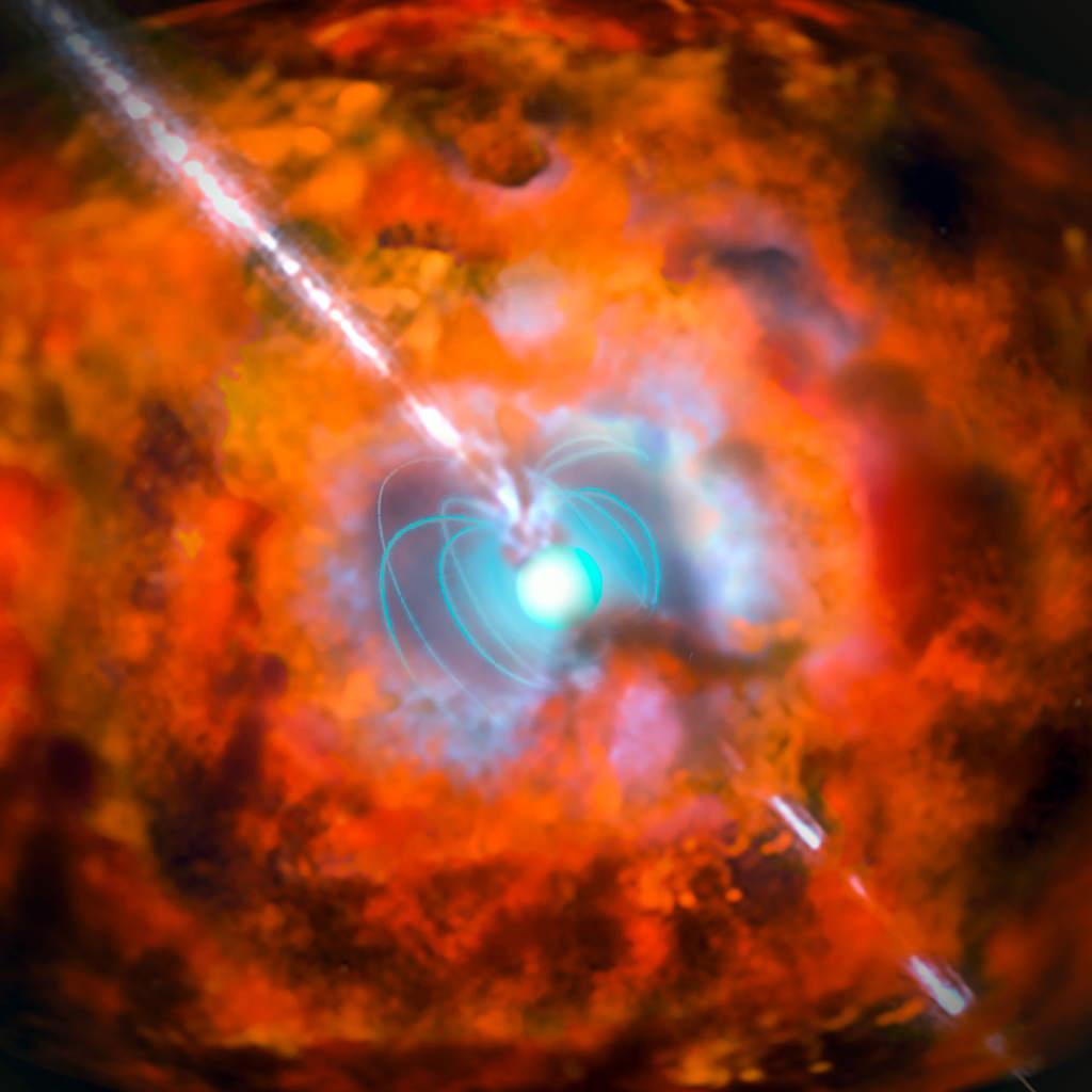 Wizja artystyczna przedstawia supernowę i powiązany z nią rozbłysk gamma wywołany przez magnetary