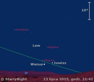 Położenie Wenus, Jowisza iKsiężyca wtrzecim tygodniu lipca 2015 r.