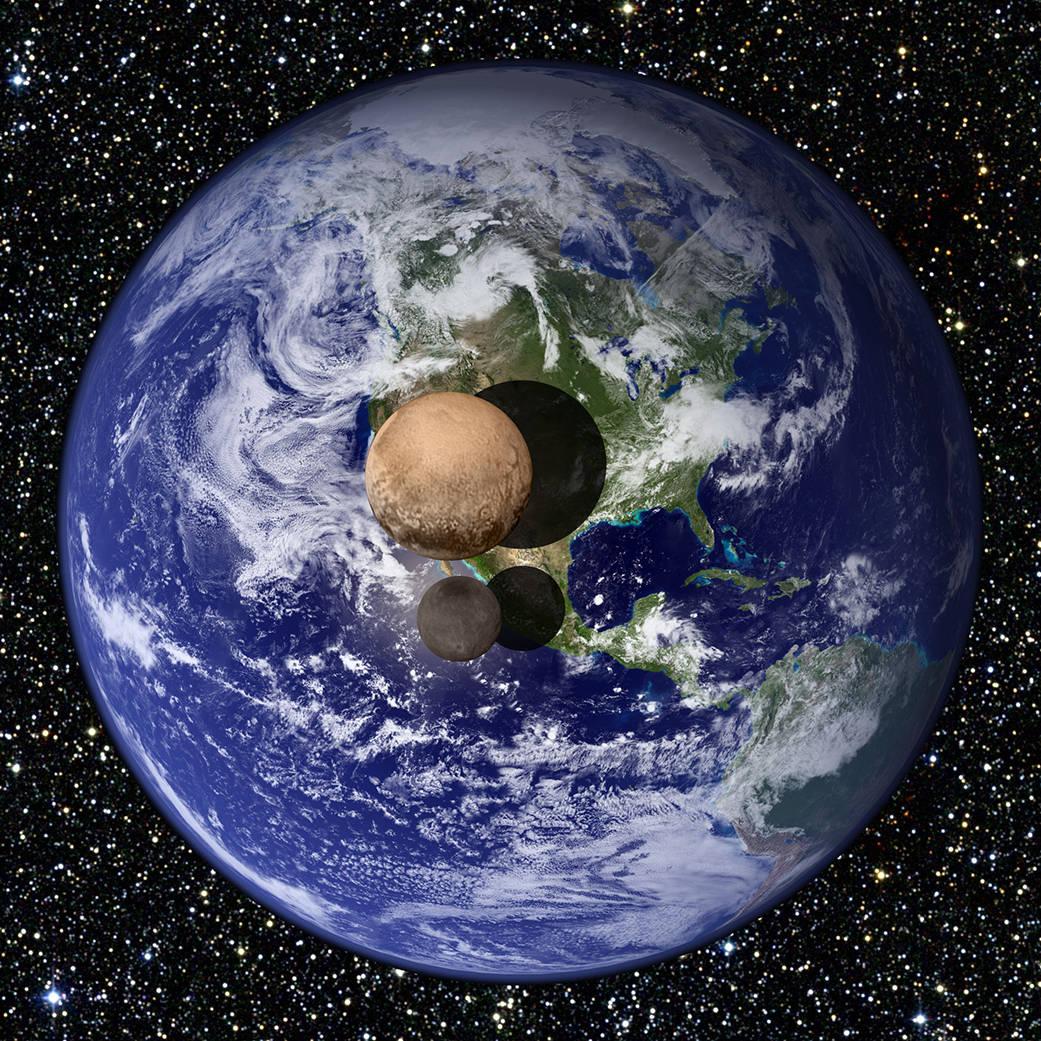 Graficzne przedstawienie Plutona i Charona na tle Ziemi