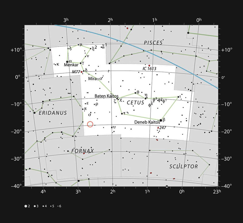Mapka gwiazdozbioru Wieloryba z zaznaczoną lokalizacją HIP 11915