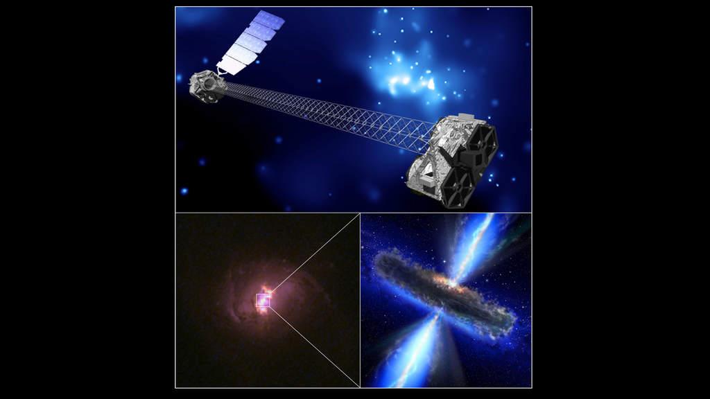 Montaż obrazów przedstawiających artystyczną wizję NuSTAR (na górze), zdjęcie jednej z galaktyk będącej celem satelity (lewy dolny róg) i artystyczną wizję ukrytej czarnej dziury (prawy dolny róg).