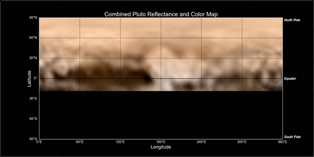 Kolorowa mapa Plutona