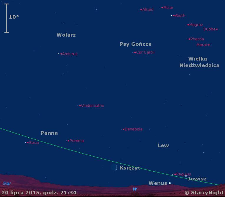 Położenie Jowisza i Wenus w czwartym tygodniu lipca 2015 r.