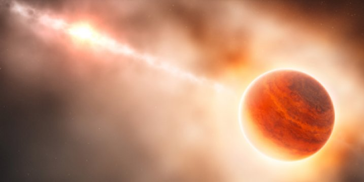 Tworzenie się gigantycznej planety gazowej (z prawej) w pobliżu gwiazdy HD 100546 (z lewej) nie zakończyło się jeszcze, co pozwala astronomom obserwować proces powstawania nowej planety.