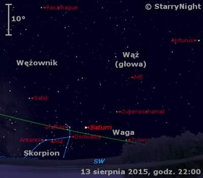 Położenie Saturna wdrugim tygodniu sierpnia 2015 r.