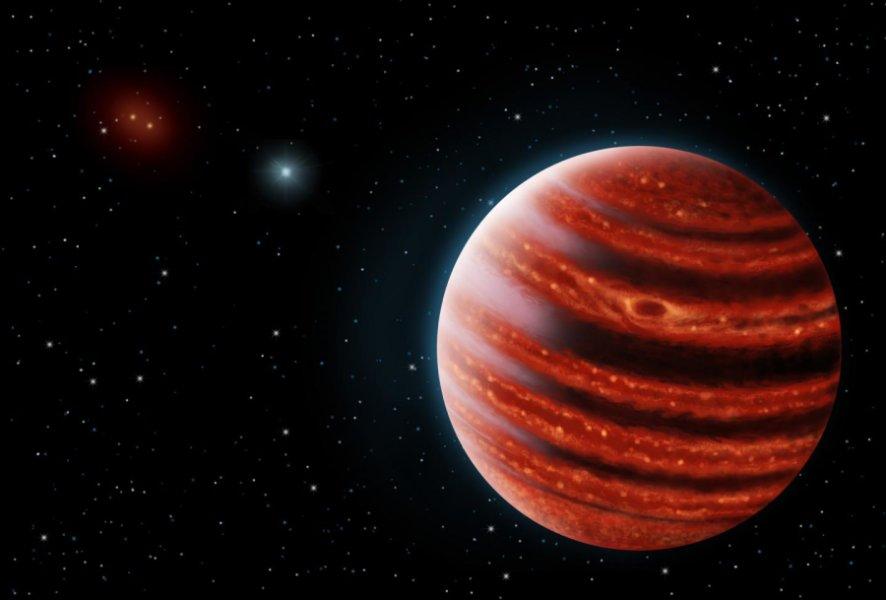 Wizja artystyczna młodszego bliźniaka Jowisza - 51 Eridani b.