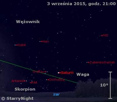 Położenie Saturna w pierwszym tygodniu września 2015 r.