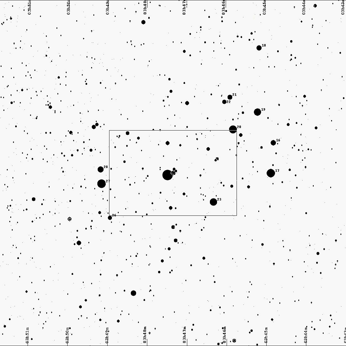 Mapka Plejad z zaznaczoną gwiazdą, zakrywaną przez planetoidę 2520 Noworosyjsk 7 września 2015 r.