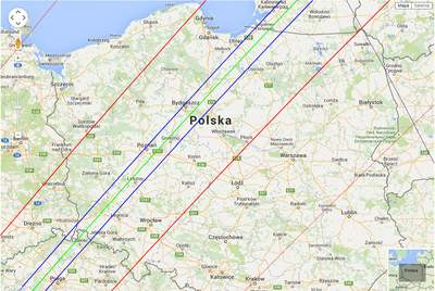 Mapka przebiegającego przezPolskę fragmentu pasa zakrycia gwiazdy TYC 1800-02201-1 przezplanetoidę 2520 Noworosyjsk 7 września 2015 r.
