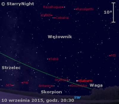 Położenie Saturna wdrugim tygodniu września 2015 r.