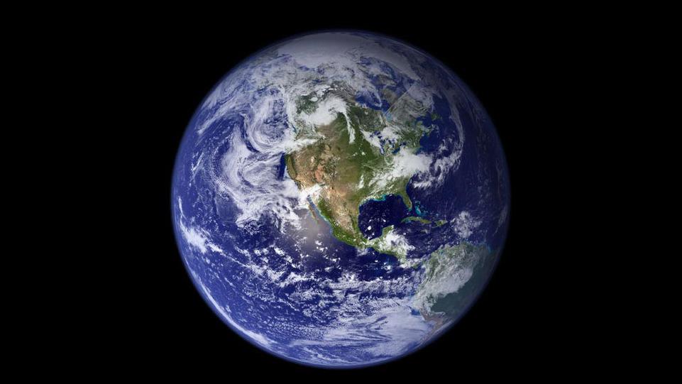 Widok na Ziemię. Zdjęcie pochodzi z wielospektralnego skanera optyczno-mechanicznego satelity Terra.