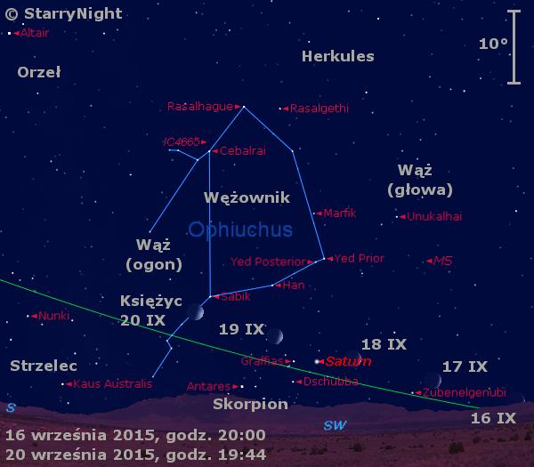Położenie Księżyca i Saturna w trzecim tygodniu września 2015 r.