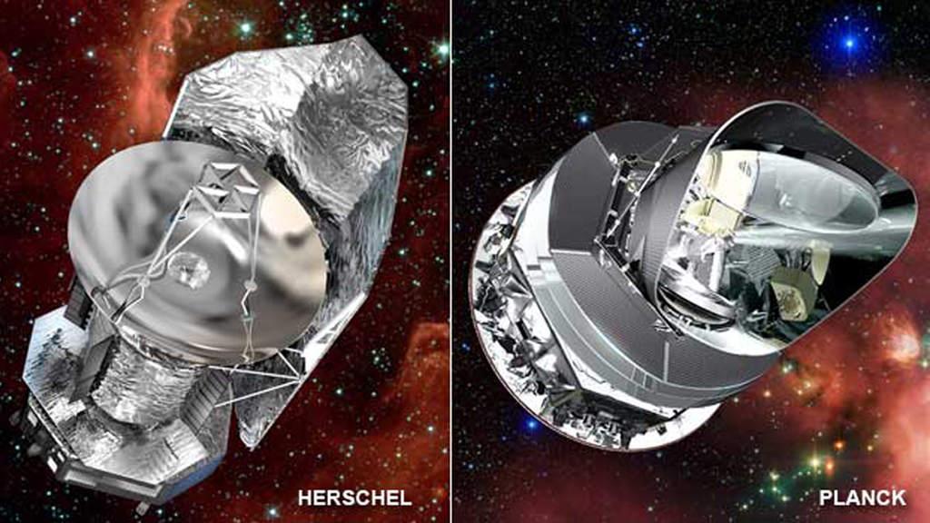Koncepcja artystyczna Kosmicznego Obserwatorium Herschela i satelity Planck.