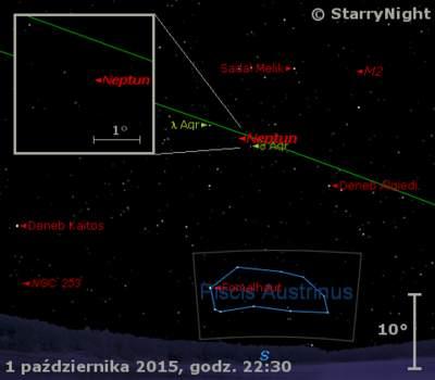 Położenie Neptuna na przełomie września i października 2015 r.