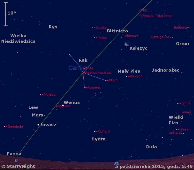Położenie Księżyca oraz planet Wenus, Mars, Jowisz i Merkury w końcu pierwszej dekady października 2015 r.