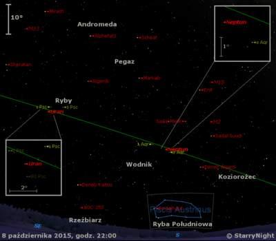 Położenie planet Neptun i Uran w końcu pierwszej dekady października 2015 r.