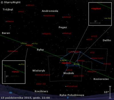 Położenie Neptuna iUrana napoczątku drugiej dekady października 2015 r.