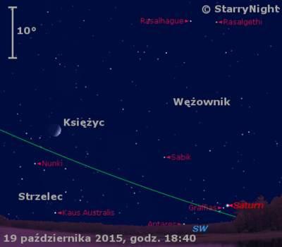 Położenie Księżyca i Saturna w końcu drugiej dekady października 2015 r.