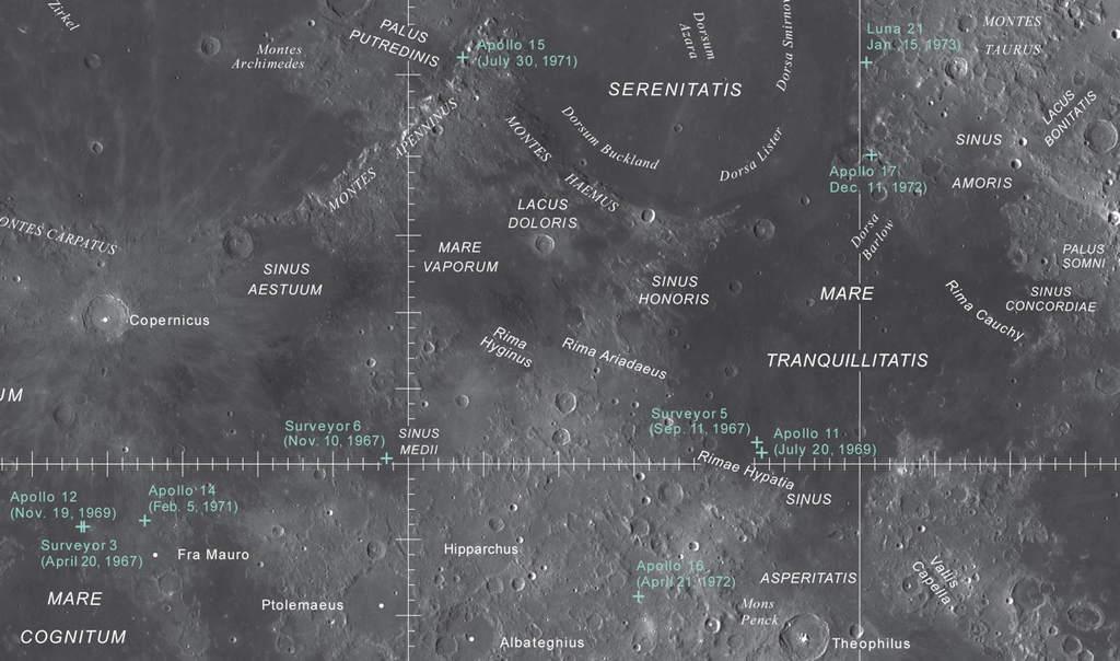 Fragment nowej mapy Księżyca z U.S. Geological Survey pokazującej lądowisko Apollo i lokalizacje innych misji.
