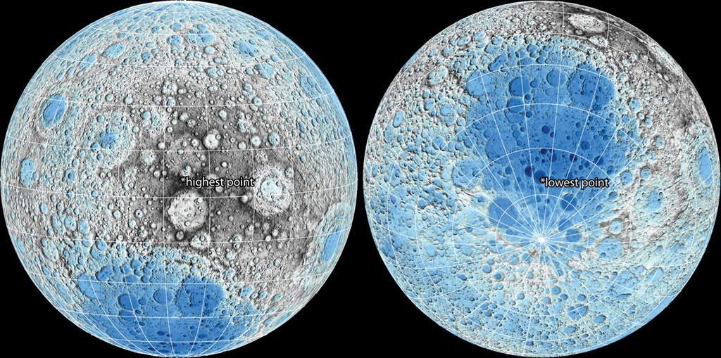 Najwyżej i najniżej położony punkt na Księżycu.