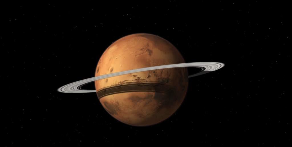 Wizja arystyczna Marsa z pierścieniem