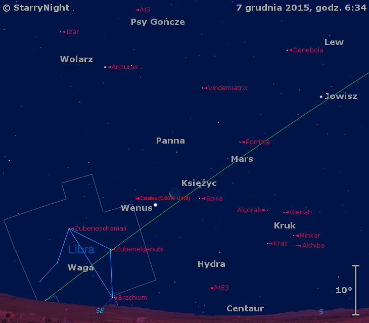 Położenie Księżyca, planet Wenus, Mars i Jowisz oraz komety C/2013 US10 (Catalina) w drugim tygodniu grudnia 2015 r.