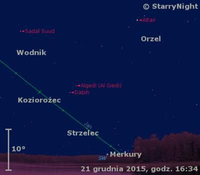 Położenie Merkurego wczwartym tygodniu grudnia 2015 r.