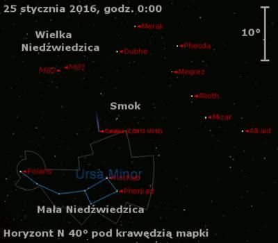 Położenie komety C/2013 US10 (Catalina) w ostatnim tygodniu stycznia 2016 r.