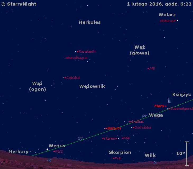 Położenie Księżyca oraz planet Mars, Saturn, Wenus i Merkury w pierwszym tygodniu lutego 2016 r.