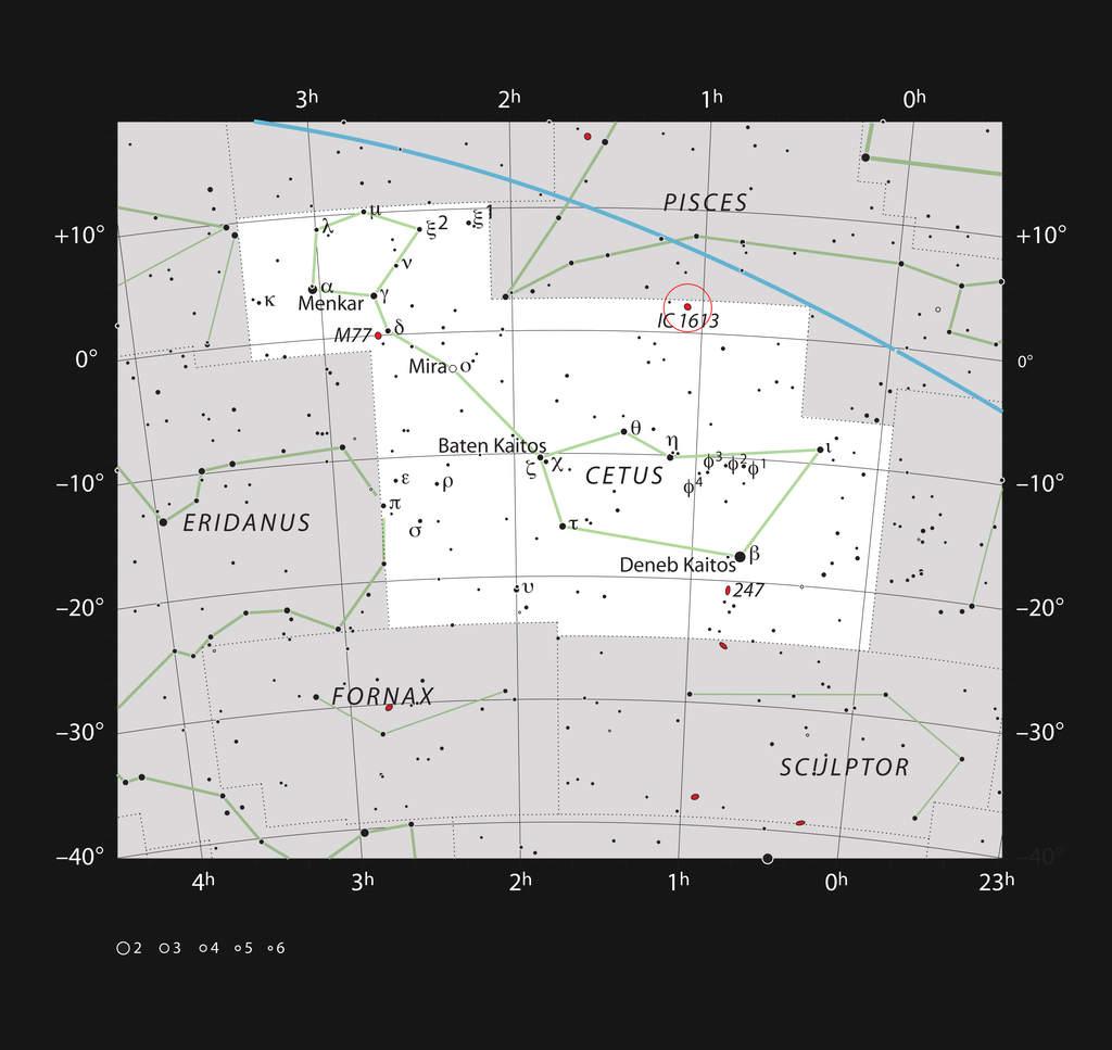 Galaktyka karłowata IC 1613 wgwiazdozbiorze Wieloryba