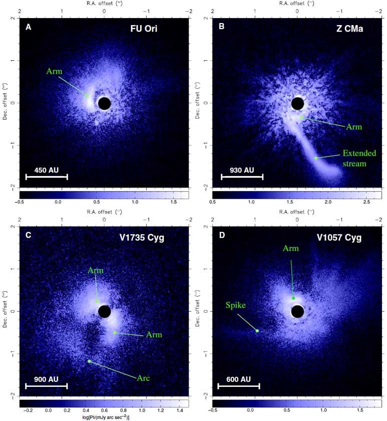 Zdjęcie pokazuje dyski wokół czterech protogwiazd.