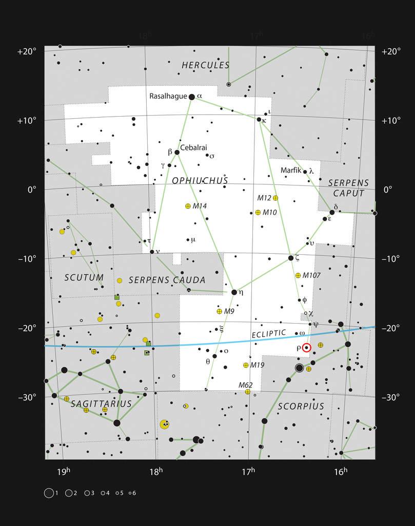 Położenie mgławicy ro Ophiuchi wgwiazdozbiorze Wężownika