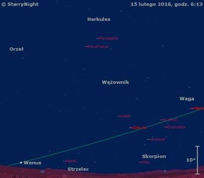 Położenie planet Mars, Saturn iWenus wtrzecim tygodniu lutego 2016 r.