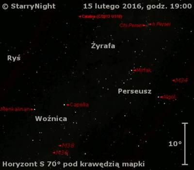 Położenie komety C/2013 US10 (Catalina) wtrzecim tygodniu lutego 2016 r.