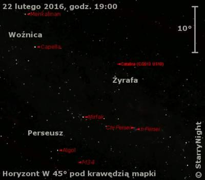 Położenie komety C/2013 US10 (Catalina) w czwartym tygodniu lutego 2016 r.