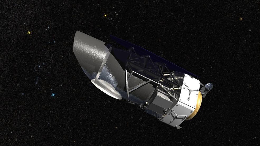 Ilustracja przedstawiająca obserwatorium kosmiczne WFIRST.