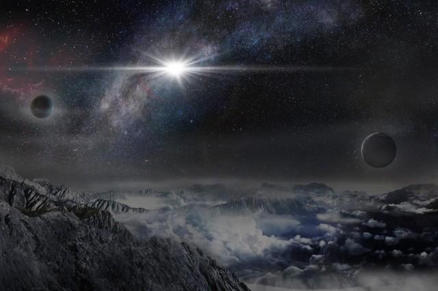 Koncepcja artystyczna supernowej ASASSN-15lh widzianej z planety znajdującej się 10000 lat świetlnych od niej.