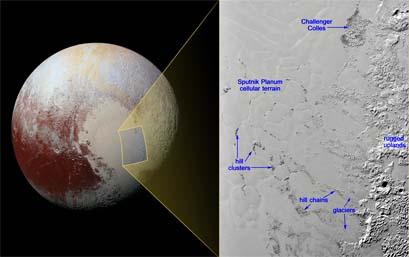 Zbliżenie na Plutona, obszaru o wymiarach ok. 500 na 340 km pokazuje liczne pojedyncze wzgórza wewnątrz równiny Sputnik Planum, które mogą być fragmentami lodu wodnego z okolicznych wyżyn.