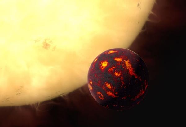 Wizja artystyczna przedstawiająca Super-Ziemię 55 Cancri e przed jej macierzystą gwiazdą.