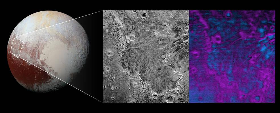 Powierzchnia Plutona - obecność metanu i lodu wodnego