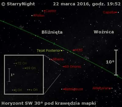 Położenie gwiazd 69 i 72 Ori 22 marca 2016 r.