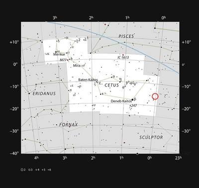 Galaktyka karłowata WLM w gwiazdozbiorze Wieloryba.