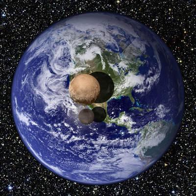 Porównanie wielkości Plutona, Charona iZiemi.