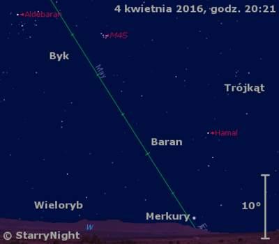 Położenie Merkurego i Księżyca w końcu pierwszej dekady kwietnia 2016 r.
