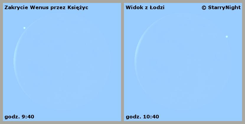 Przebieg zakrycia Wenus przez Księżyc 6 kwietnia 2016 r.