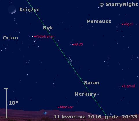 Położenie Merkurego na początku drugiej dekady kwietnia 2016 r.