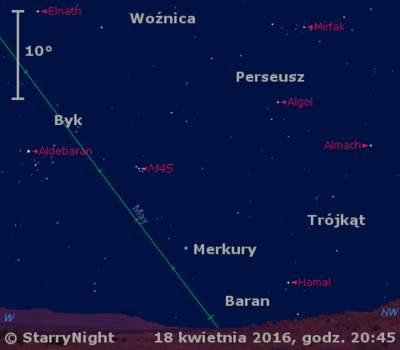 Położenie Merkurego w trzecim tygodniu kwietnia 2016 r.