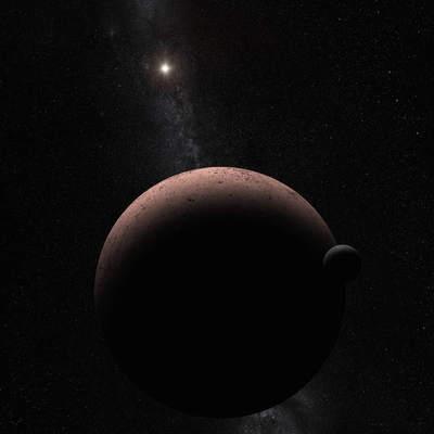 Koncepcja artystyczna ukazuje odległą planetę karłowatą Makemake i jej nowo odkryty księżyc.